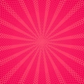 Popart achtergrond. komisch patroon met starburst en halftoon. vector illustratie.