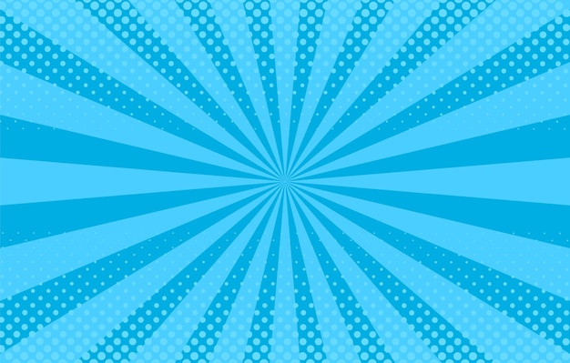Popart achtergrond. komisch patroon met starburst, halftoon. blauwe banner. cartoon zonnestraaleffect