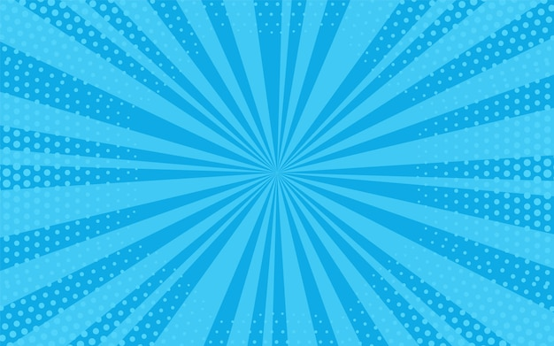 Popart achtergrond. komisch patroon met starburst halftoon. cartoon blauwe banner. zonneschijn textuur