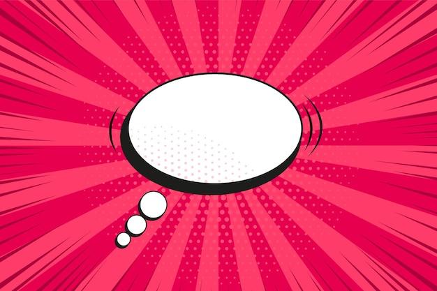 Popart achtergrond. komisch patroon met tekstballon en starburst. rode cartoon sunburst print met punten. vintage zonneschijn textuur. halftone retro duotoon banner