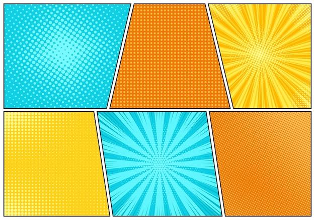 Popart achtergrond. stel komische starburst-patronen in. vector illustratie.