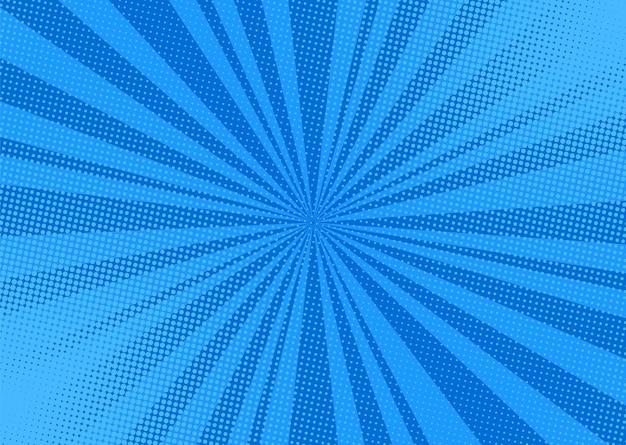 Popart achtergrond. strip cartoon textuur met halftoon en zonnestraal. blauwe vuurwerk