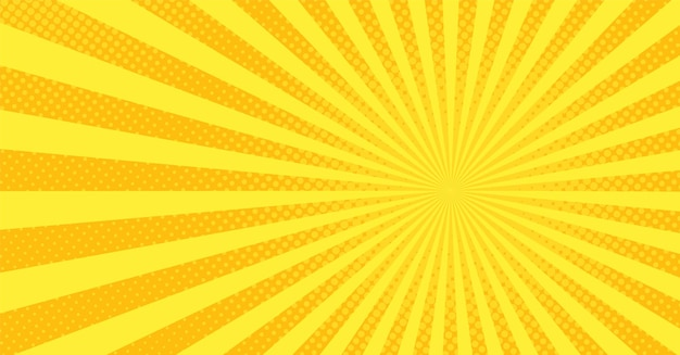 Popart achtergrond. strip cartoon textuur met halftoon en zonnestraal. geel vuurwerkpatroon. retro-effect met stippen. uitstekende zonneschijnbanner. superheld wow achtergrond. vector illustratie.