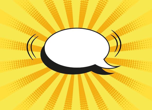 Popart achtergrond. strip cartoon textuur met tekstballon en halftoon. geel vuurwerkpatroon. retro-effect met stippen. vintage zonneschijn achtergrond. superheld wow-banner. vector illustratie.