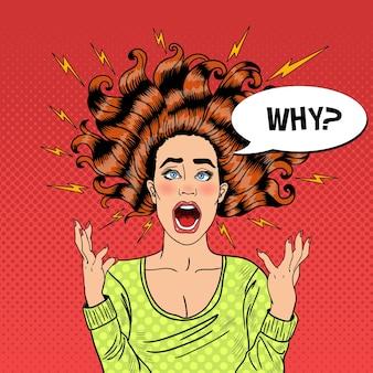Popart agressieve woedende schreeuwende vrouw met vliegend haar en flitser. illustratie