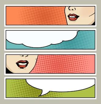 Popart banner met vrouwelijke lippen en lege ruimte voor tekst.