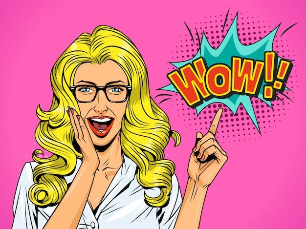 Popart behoorlijk verrast blond meisje
