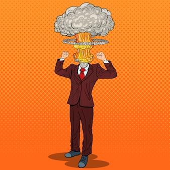 Popart benadrukt zakenman met explosie hoofd.