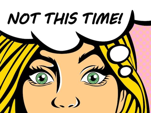 Popart blonde vrouw met blauwe ogen zegt deze keer niet. vintage komische meisje praten met behulp van tekstballon. illustratie