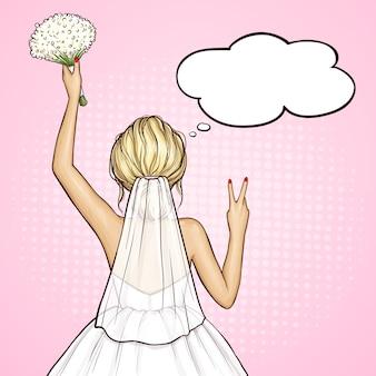 Popart bruid in trouwjurk met boeket