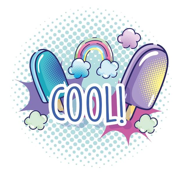 Popart cartoon, ijs in stokken regenboog mode, komisch halftoon ontwerp