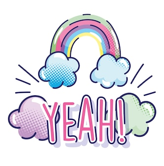Popart cartoon, ja belettering regenboog droom wolken komische halftoon ontwerp