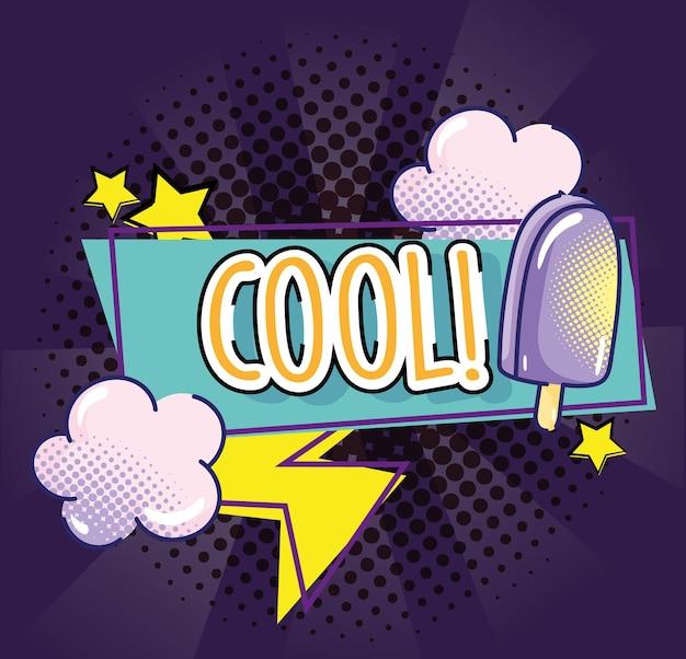 Popart cool woord ijs wolken ray sterren ontwerp halftoon afbeelding