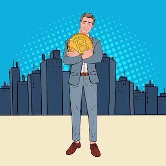 Popart gelukkig zakenman permanent in de stad