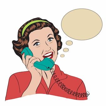 Popart grappige retro vrouw die telefonisch spreekt