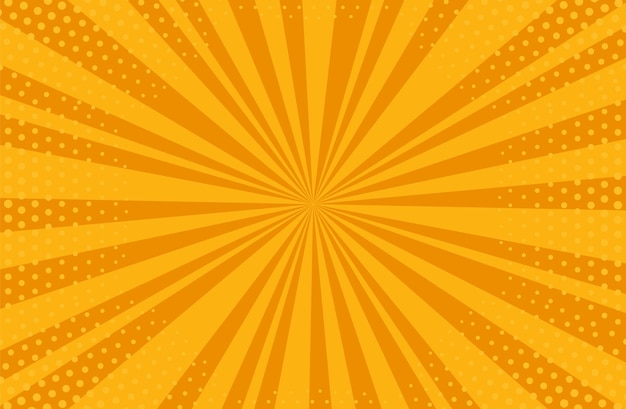 Popart halftone achtergrond. komisch starburst-patroon. oranje banner met stippen en balken.