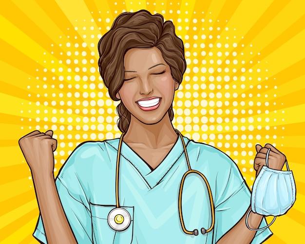 Popart illustratie van de dokter is blij, virus verslagen. jonge afrikaanse amerikaanse vrouw nam een medisch masker af, einde van de epidemie. de uitvinding van medicijnen, vaccins, genezing van de ziekte.
