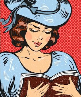 Popart illustratie van jonge vrouw leesboek