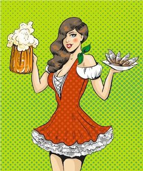 Popart illustratie van meisje met bier en vis