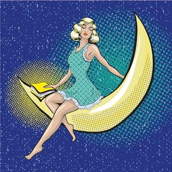 Popart illustratie van mooie vrouw zittend op de halve maan
