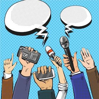 Popart illustratie van verslaggevers handen met microfoons