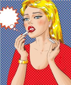 Popart illustratie van vrouw die haar lippen schildert