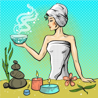 Popart illustratie van vrouw in spa schoonheidssalon