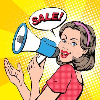 Popart illustratie vrouw zegt verkoop via megafoon