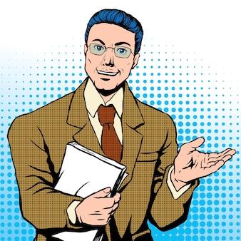 Popart illustratie zakenman met documenten de weg wijzen