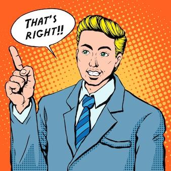 Popart illustratie zakenman toont positieve houding