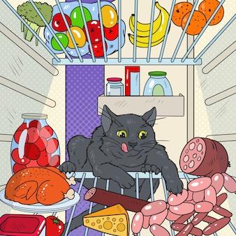 Popart kat steelt voedsel uit koelkast. hongerig huisdier in de koelkast.