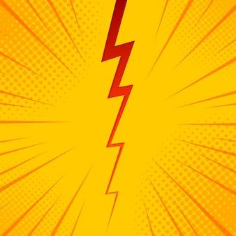 Popart komische achtergrond bliksem explosie halftoonpunten. cartoon afbeelding op geel.