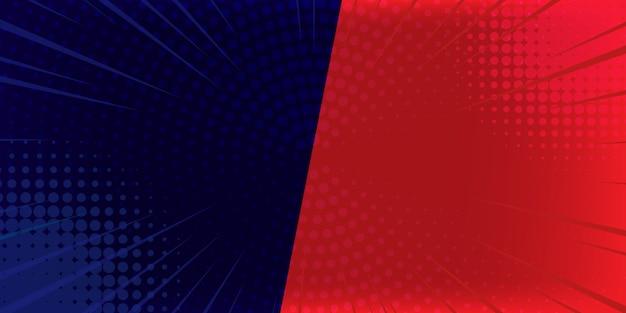 Popart komische achtergrond blikseminslag halftoonpunten. cartoon illustratie op rood en blauw.