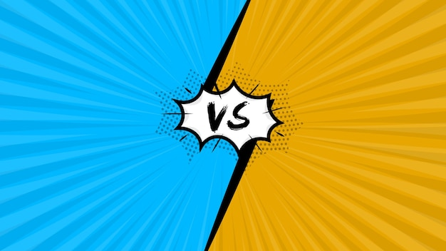 Popart komische blauwe en oranje achtergrond met versus illustratie