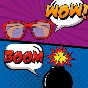 Popart komische retro-stijl banners bril en bom