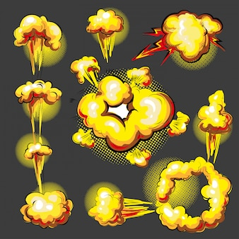 Popart komische stijl explosie effect animatieset