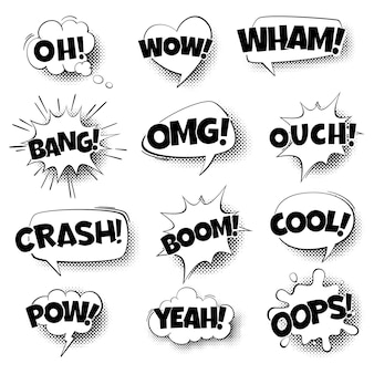 Popart komische tekstballonnen. retro cartoon pratende vormen, komische tekst in zwarte en witte kleuren, communicatie geluidseffect halftone dot achtergrond. vector geïsoleerde illustratie in vintage stijl Premium Vector