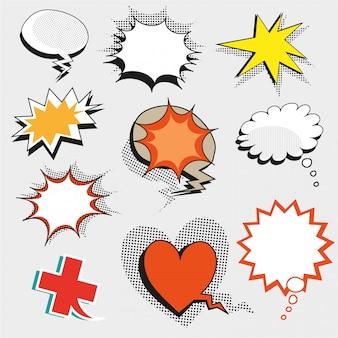 Popart komische tekstballonnen, vormen en tekens