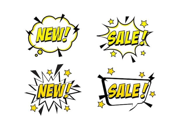 Popart komische verkoop korting promotie banner