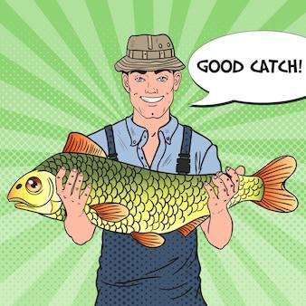 Popart lachende visser met grote vis