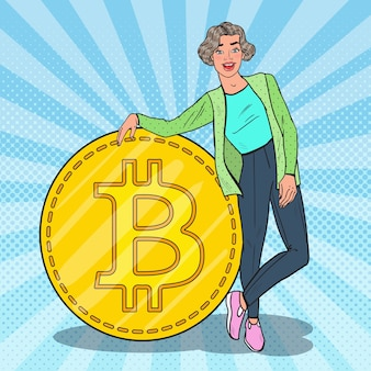 Popart lachende vrouw met grote bitcoin