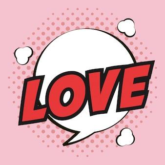 Popart liefde bubbel toespraak roze stip achtergrond