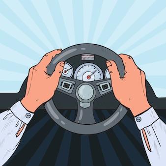 Popart man handen auto stuurwiel