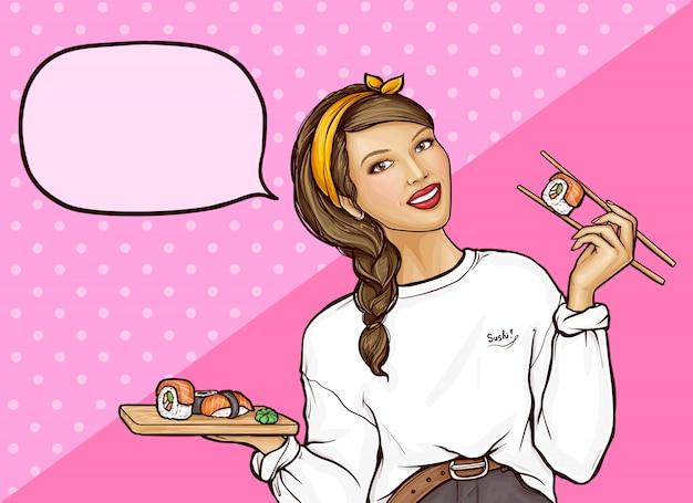 Popart meisje met sushi rolt