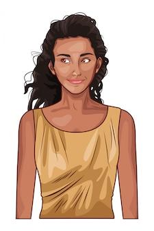 Popart mooie en jonge vrouw cartoon