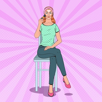 Popart mooie vrouw contouring make-up toe te passen