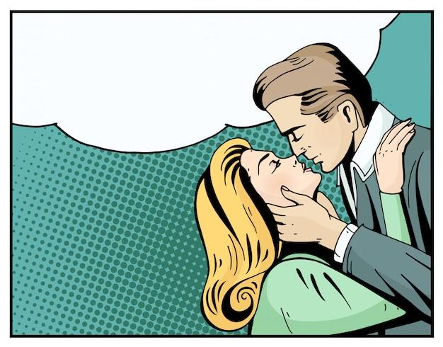 Popart mooie vrouw en man kussen.