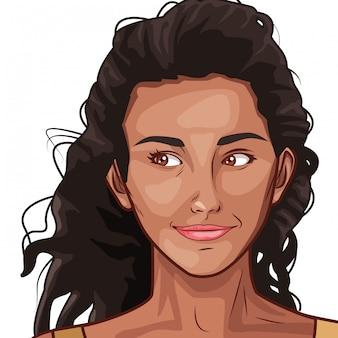 Popart mooie vrouw gezicht cartoon