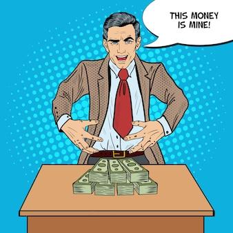 Popart sinistere zakenman wil het geld grijpen.