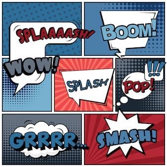 Popart-strip met uitdrukkingen
